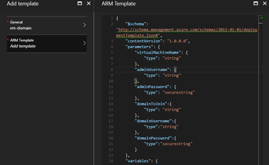 Create an ARM template for a domain joined virtual machine.